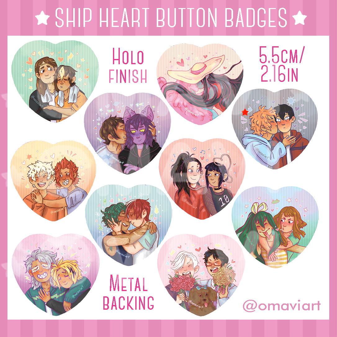 Bnha Ship Heart Button Badges On Storenvy