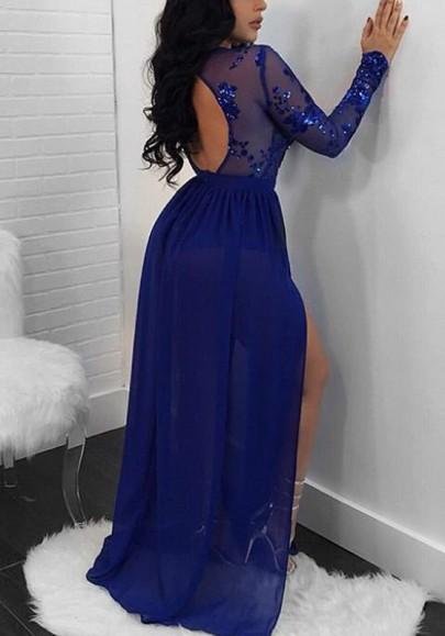 Sparkling A Line Royal Blue Evening Dress Long Sleeve Lace