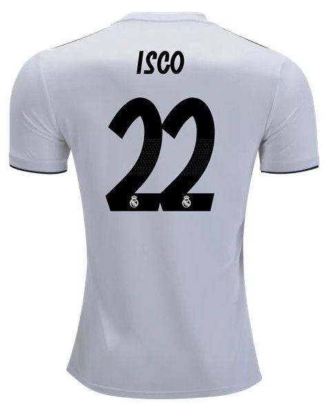 6aef7766ca9 Real Madrid 18 19 Isco  22 Jersey Men Home Football Shirt White