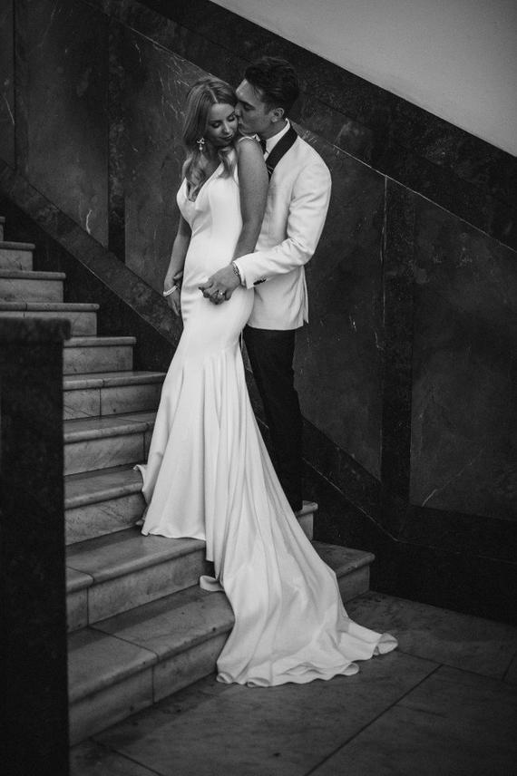 b40ed9a98ffb Crepe Trumpet Backless Wedding Dress · Wedding store · Online Store ...