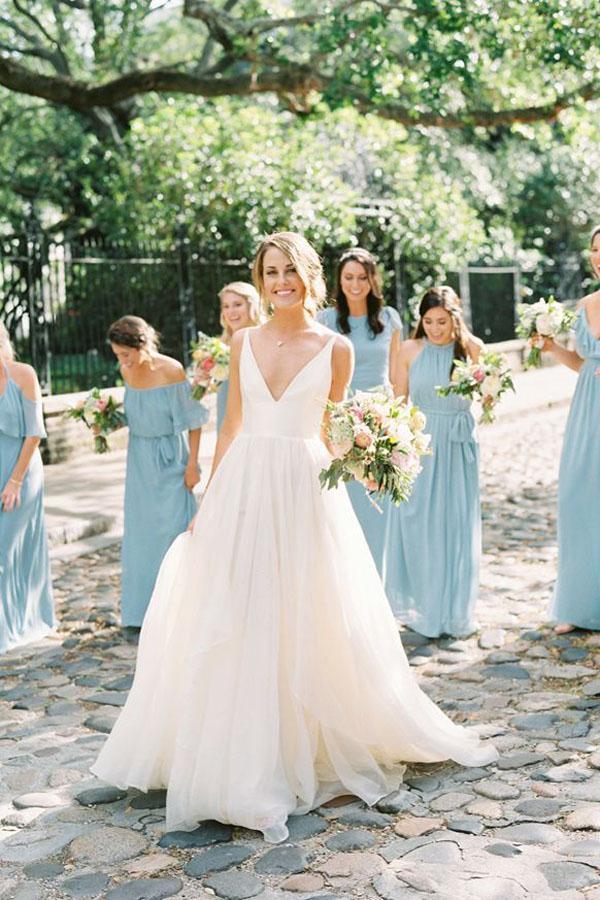 376ef4d211 White A Line Brush Train Deep V Neck Sleeveless Layers Wedding Dress,Beach  Wedding Dress