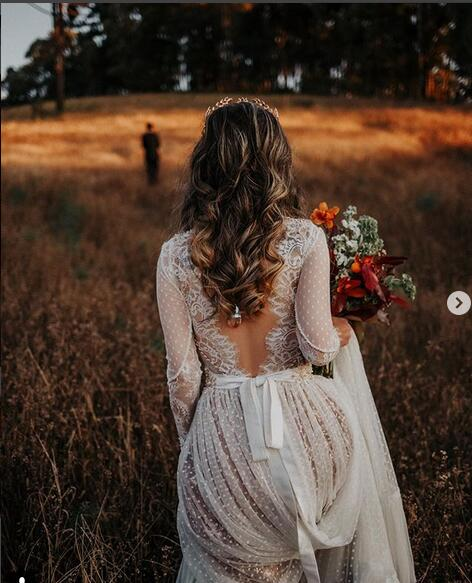 Stunning_Sexy_Mermaid_Polka_Dot_Tulle_Wedding_Dresses_Sheer_Long_Sleeve_Plunge_and_Backless_Bridal_Gowns