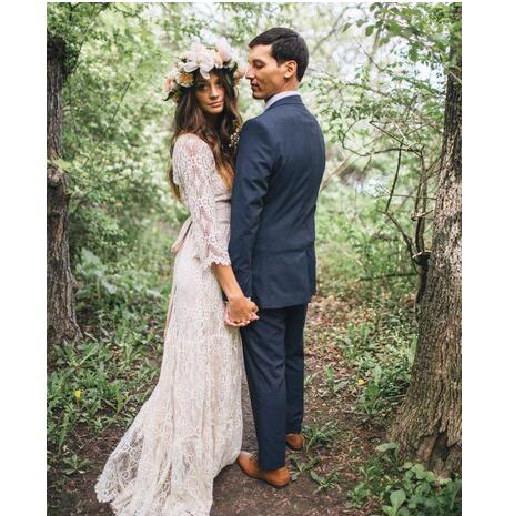 Vintage-Inspired Hippie Maxi Lace Bohemian Wedding Dresses 2019 Long  Sleeves Crochet V-neck Beach Boho Bridal Gowns Wedding Gowns Plus Size from  ...