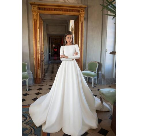 d510fb59f5d Wedding Dresses A Line Satin Backless Sweep Train Long Sleeve Wedding Gowns  Bateau Neck Winter Bridal