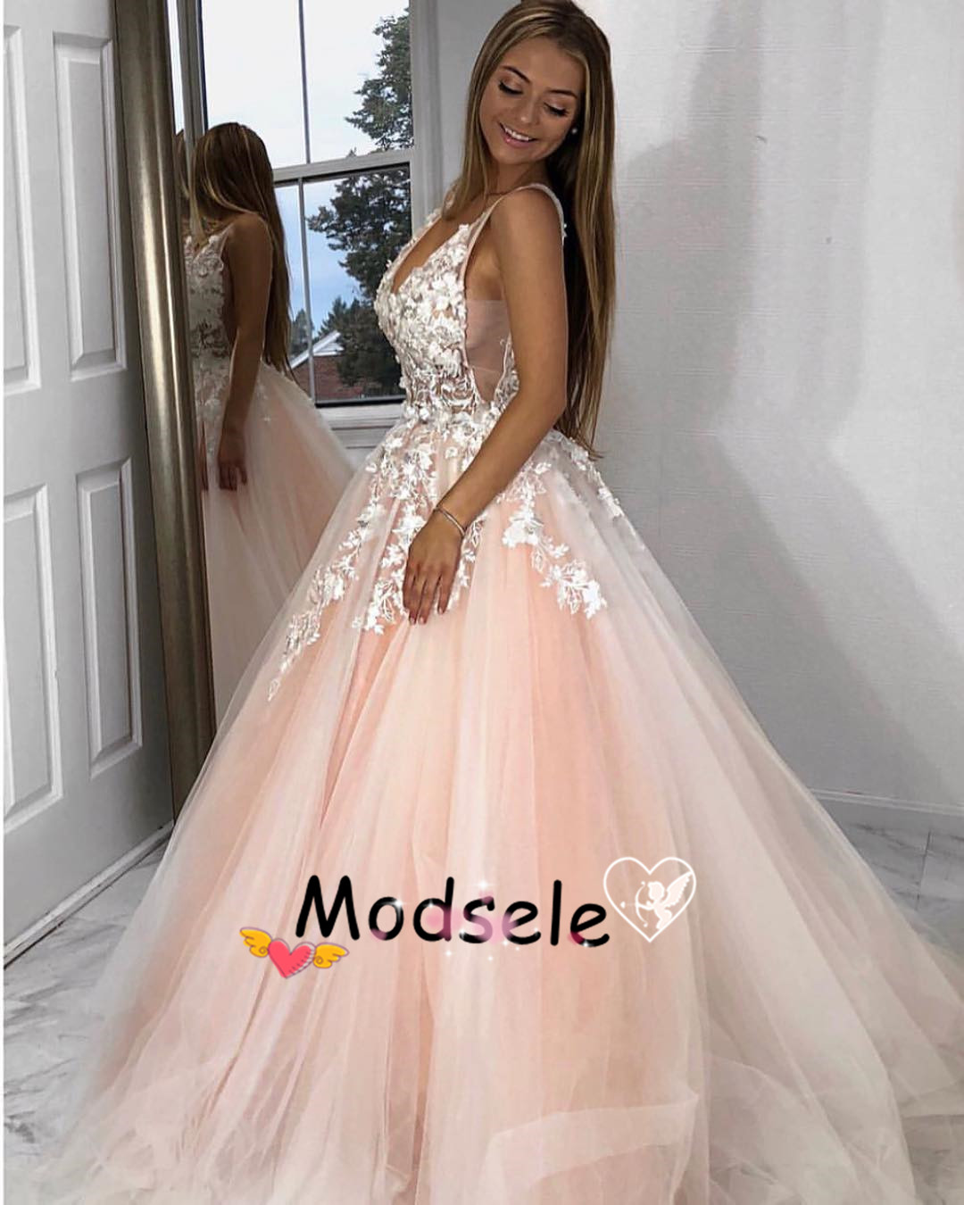 be985eb3b68 Pink Long Prom Dress with White Lace on Storenvy