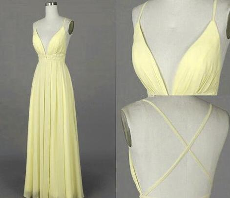 d36ba274fb Beautiful Simple V Neck Backless Light Yellow Prom Dress