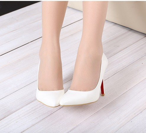 f86891d6fee White Thin Heel Pointed Women s Pumps High Heels Red Bottom Vintage ...