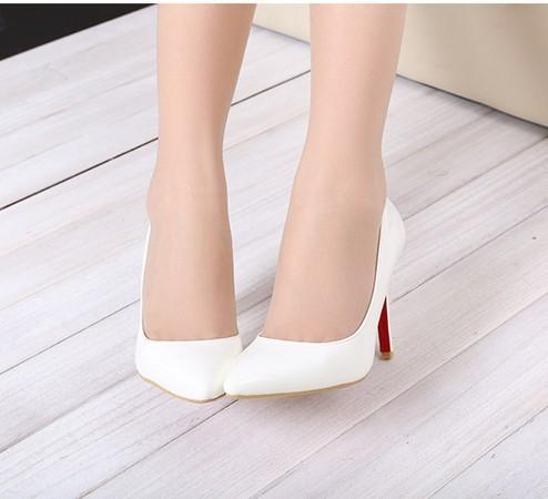 white thin heel pointed women's pumps high heels red
