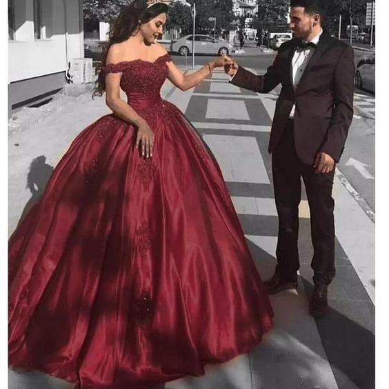 Image of Ball Gown Off the Shoulder Burundy Prom Dresses with Appliques