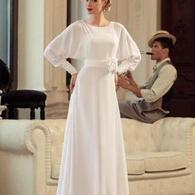 6fe6e5f47f9e Charming chic chiffon white wedding dresses long sleeve a-line garden  spring beach ball vestido