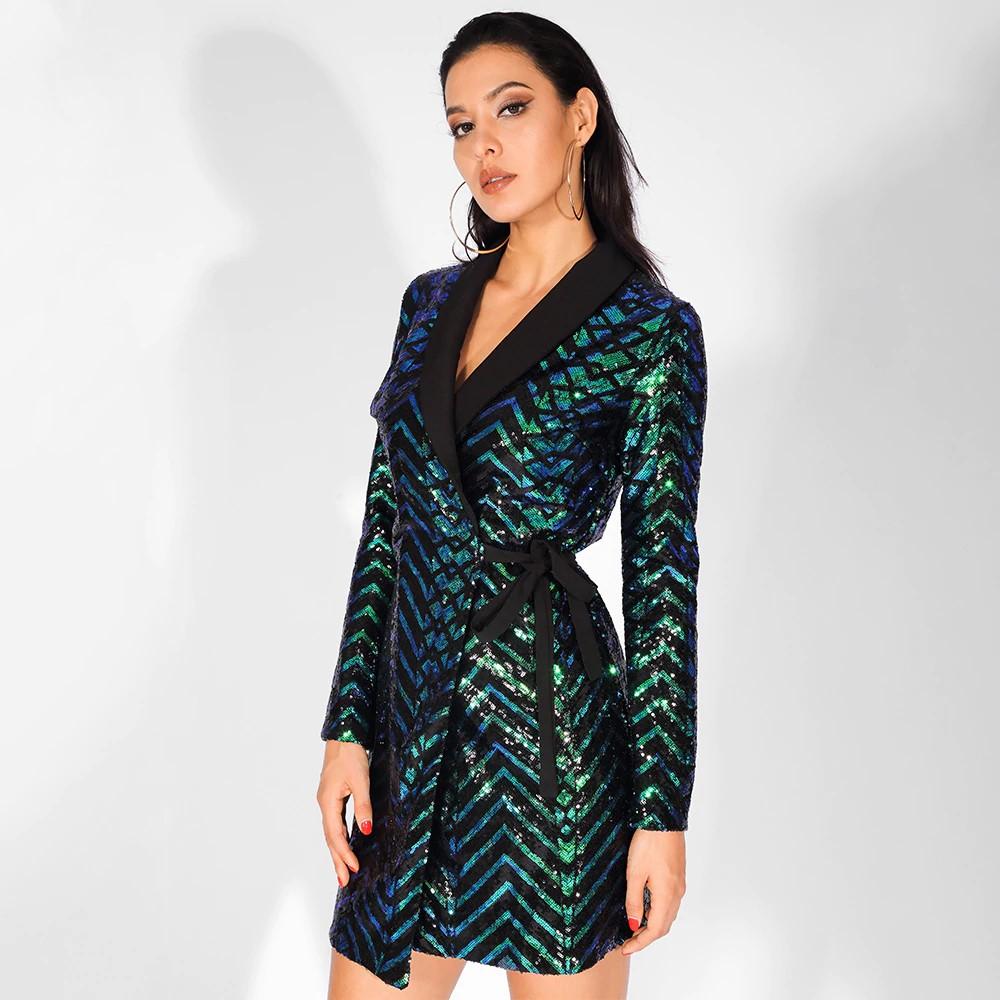 Agatha Geometric Sequin Dress