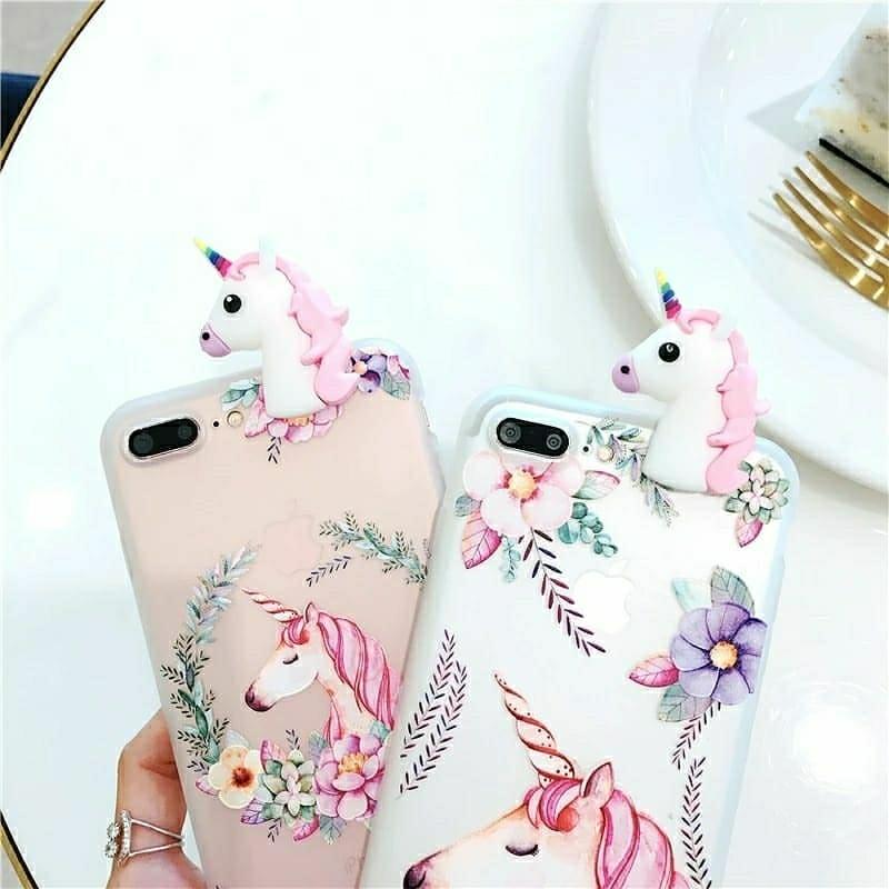 TRANSPARENT 3D cute unicorn case for