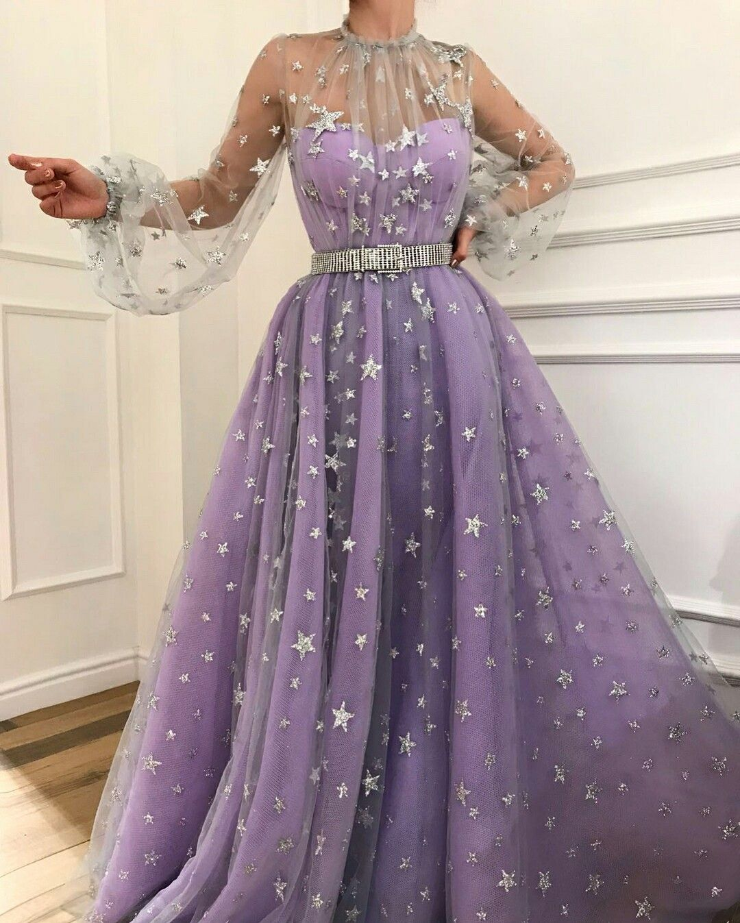 56e4535e43f Charming purple prom dress,tulle with star evening dress,long a ...