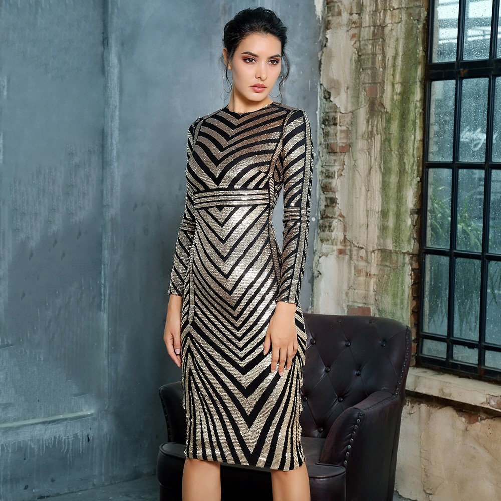 Chelsea Gold Geometric Sequin Dress