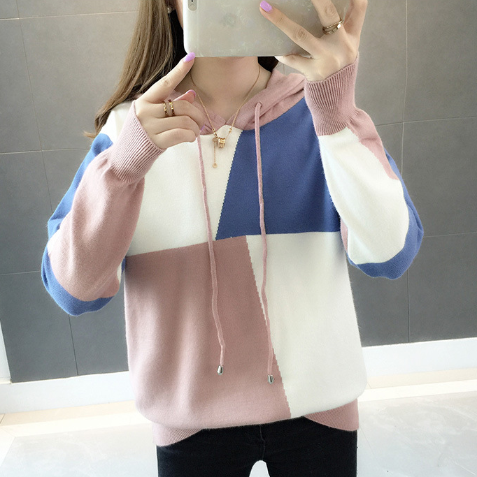 Women\u0027s Fashion Knitted Sweater Girls Cute Knitted Hoodie