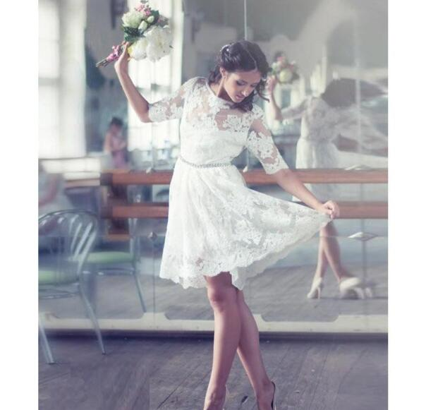 Elegant Short Wedding Dresses With Half Sleeve Sheer Neck Appliques Lace Bridal Gowns Vestido De Novia Little White Dresses For Bride Babybridal Online Store Powered By Storenvy,Used Monique Lhuillier Wedding Dresses