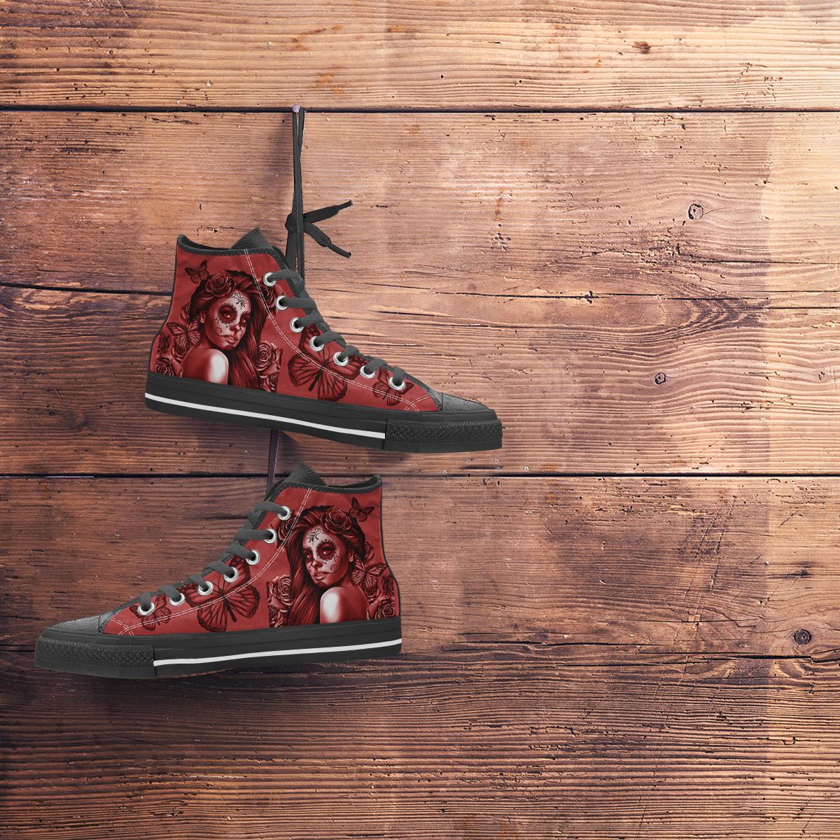 Red Freedom Rose  Black Soles Calavera Women/'s High Top Canvas Shoes Day Of The Dead  Dia De Los Muertos  Halloween Skull Design #2