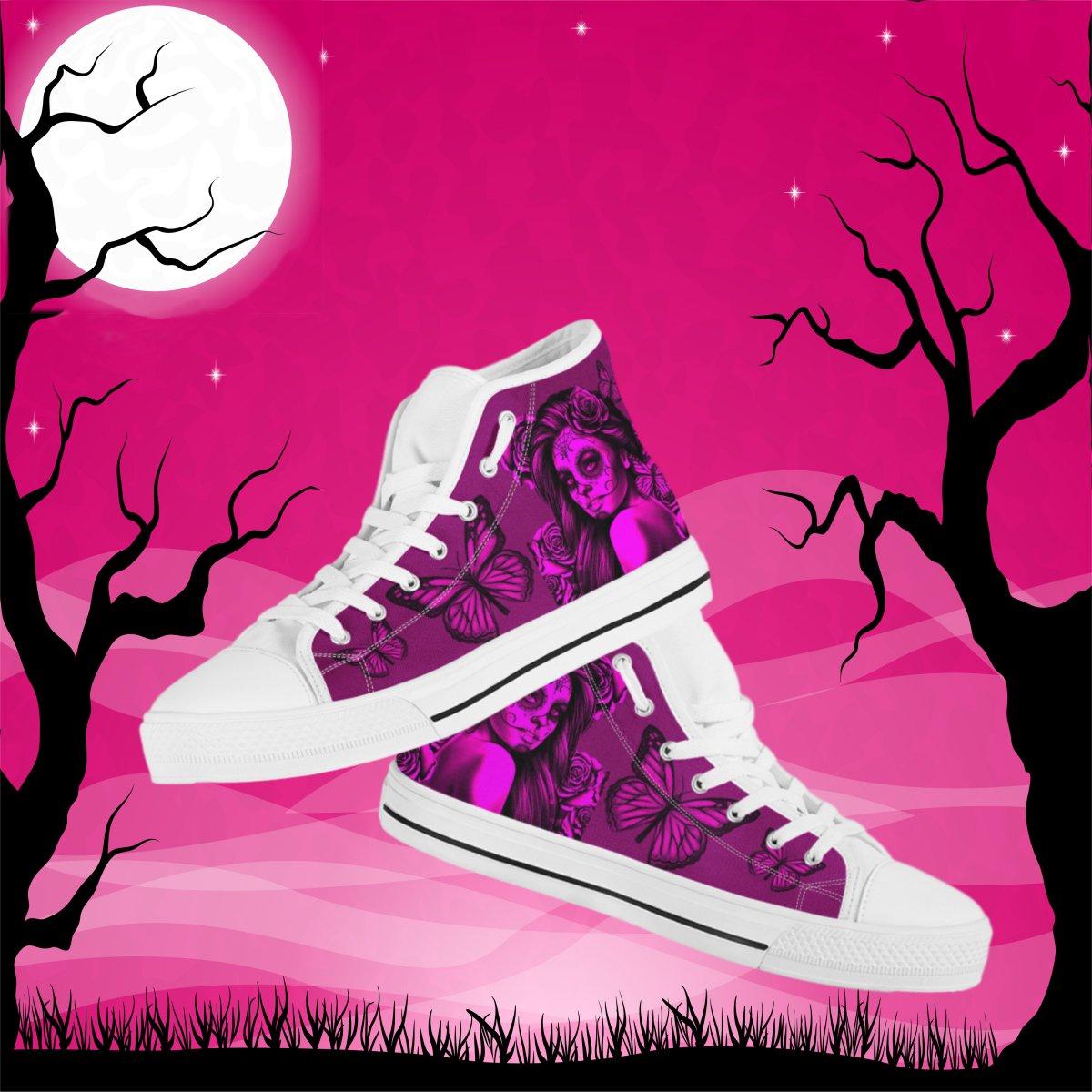 6b1cf6f9d9b9a1 Calavera Women s High Top Canvas Shoes - Dia De Los Muertos (Day Of ...