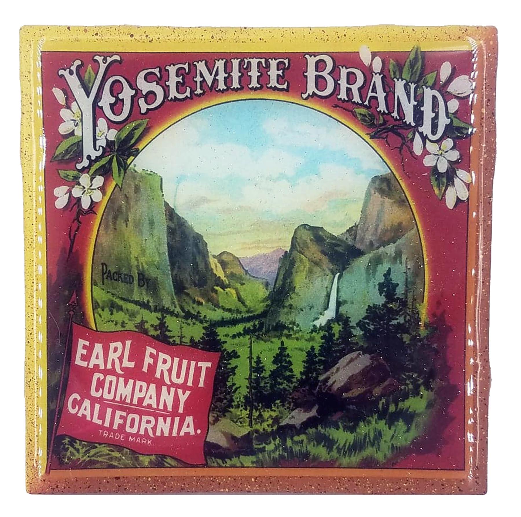 Handmade Coaster – National Parks – Yosemite Valley – Vintage Citrus Crate Label