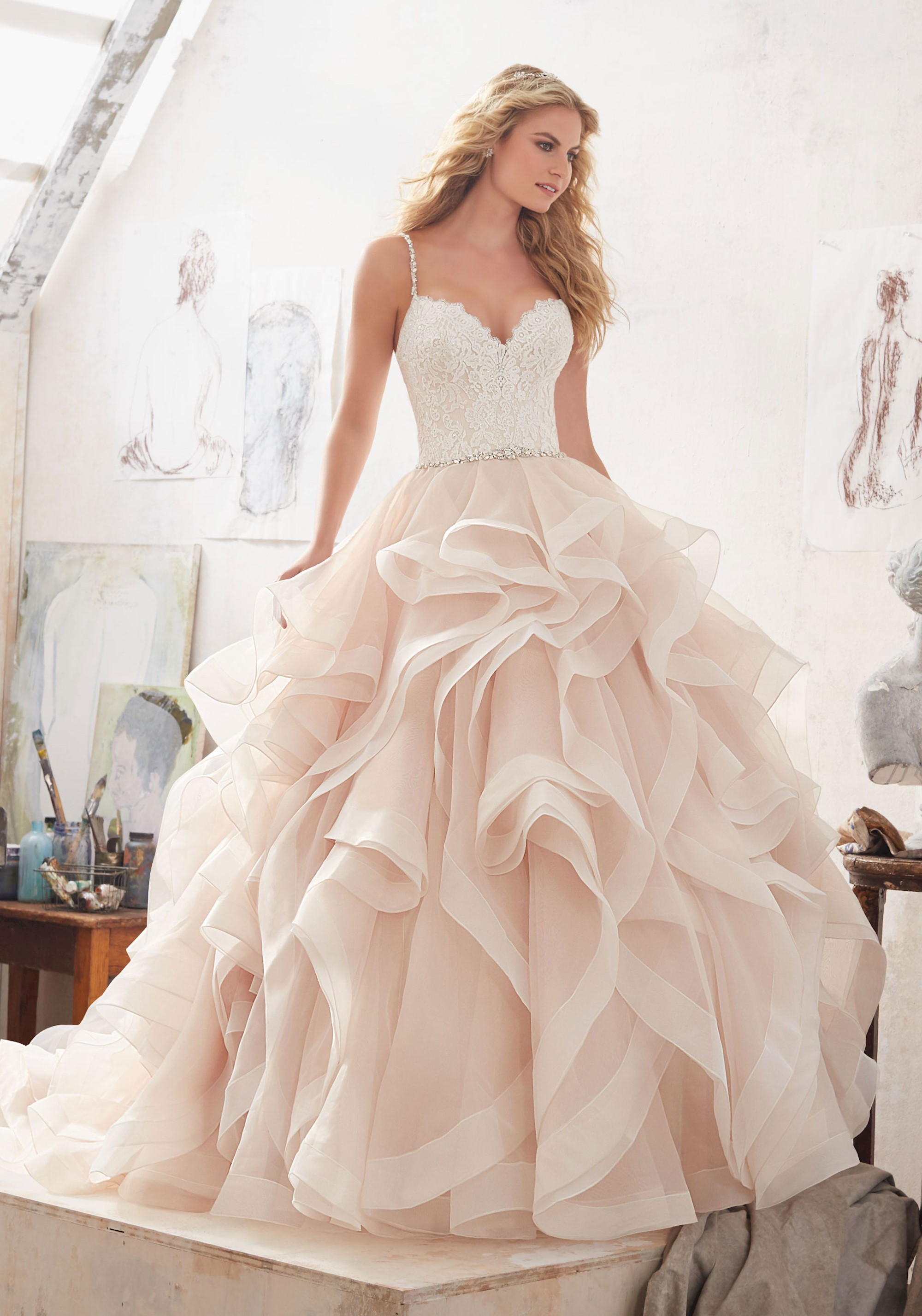 ff1e0f270e1 Romantic Beaded Bridal Ball Gown Lace Wedding Dresses