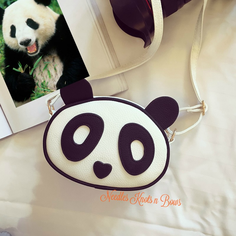 Girls Panda Purse- Panda Crossbody Purse- Crossbody- Girls Handbags (96668133 Needles Knots n Bows) photo