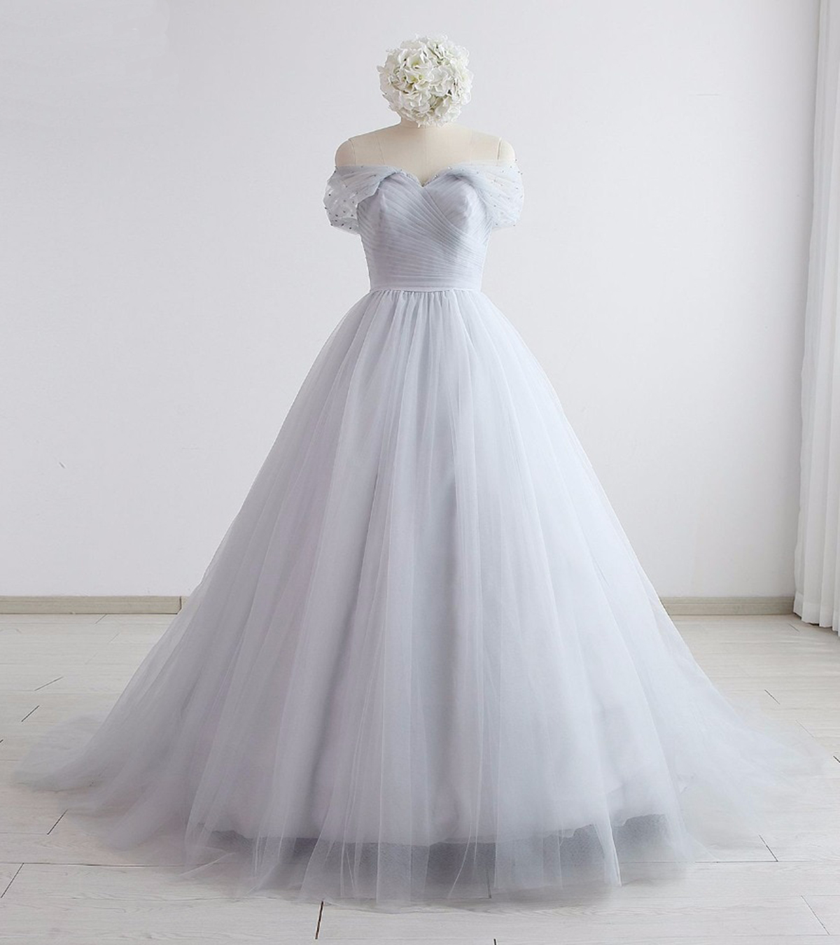 Image of 2019 Gray Tulle Off Shoulder Long Sweet 16 Prom Dress, Evening Dress