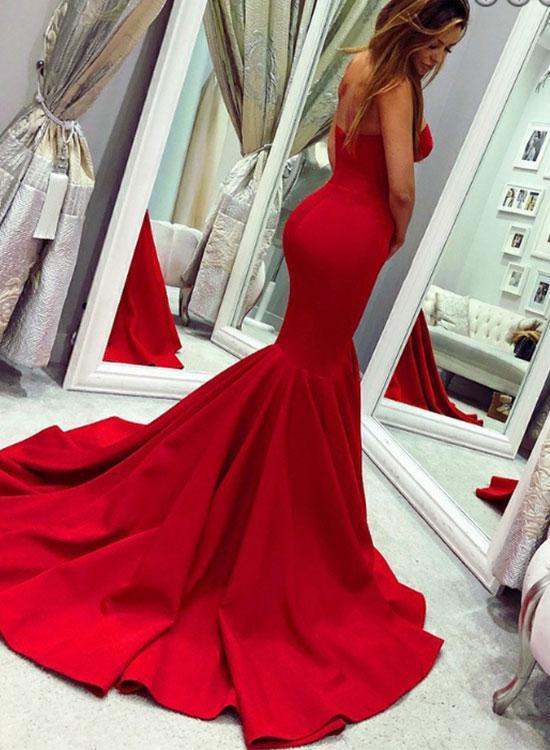 4238b52115eeb 2019 Red Sweetheart Mermaid Sweep Train Evening Dress,Red Prom Dress,Fish  Tail Evening ...