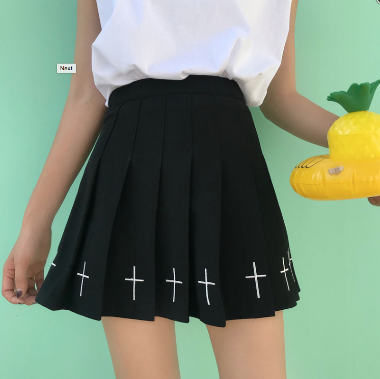 84c7f93782 Goth Cross Pleated Skirt - Black · Sandysshop · Online Store Powered ...