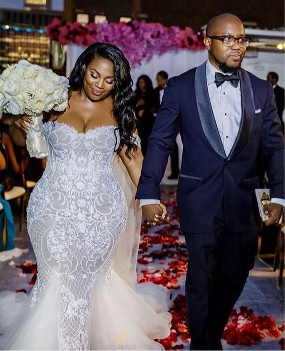 African Wedding Gown: Stunning Mermaid Plus Size Tulle Wedding Dresses Off The