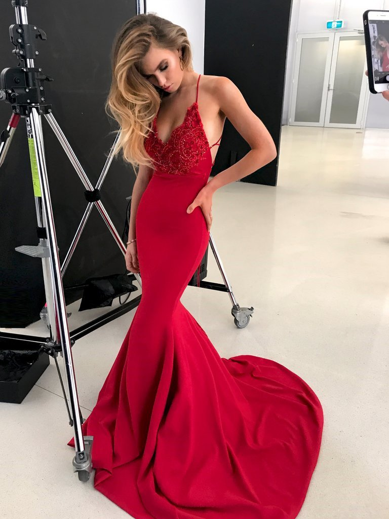 Red V Neck Backless Lace Prom Dresses With Trainmermaid Red