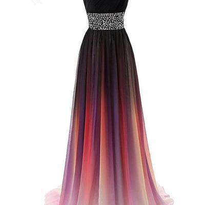 68ecfef198 One shoulder chiffon ombre beaded long evening prom dresses