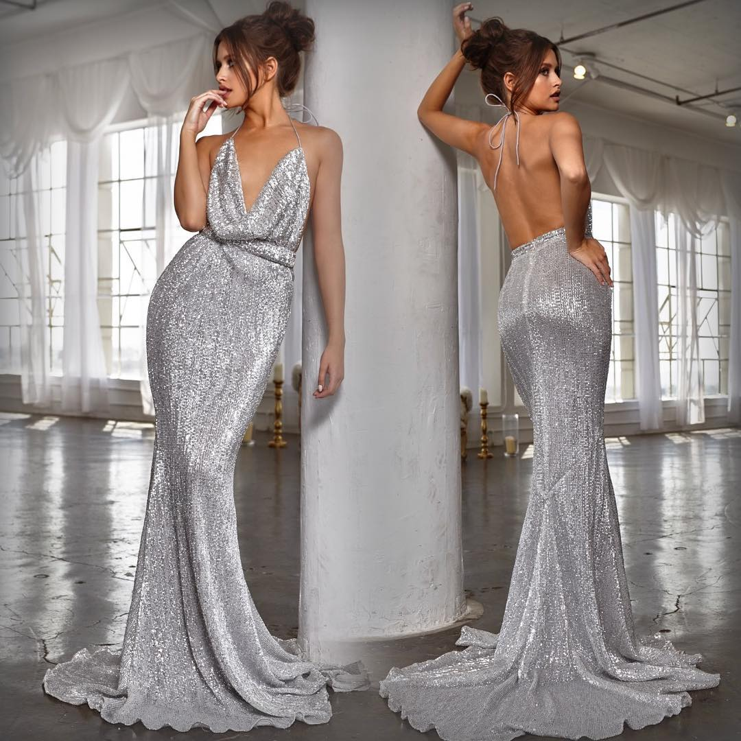 A Line V Neck Long Silver Chiffon Lace Beaded Prom Dress