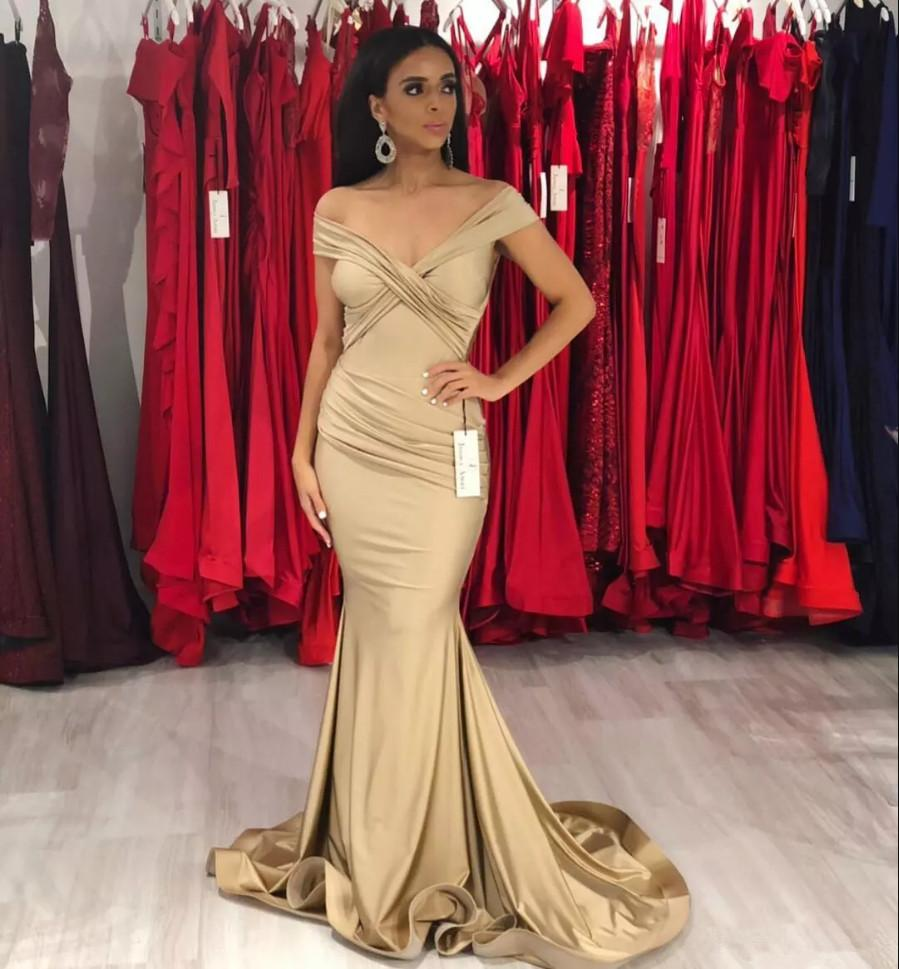 4220d4a68bcf Dark Champagne Off The Shoulder Prom Dress Mermaid Evening Gowns For Women  Formal