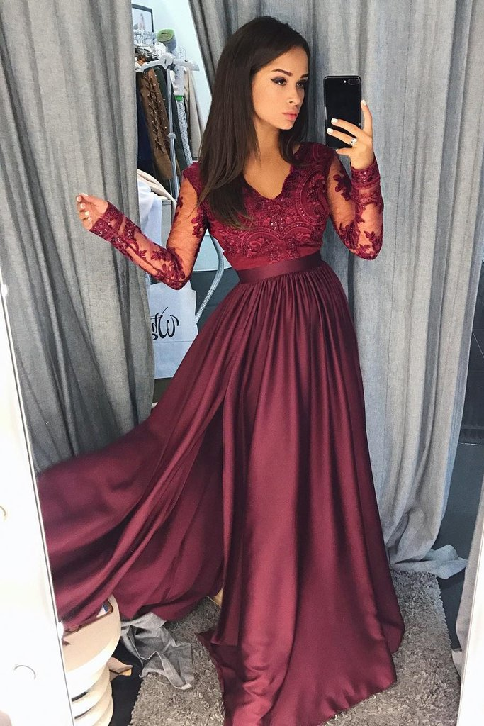 aac53c916 A Line Lace Satin Long Sleeves Prom Dresses, Sexy Side Split Evening Dresses  On Sale on Storenvy