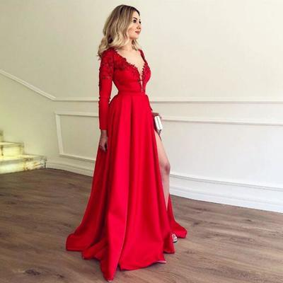 99bc1676d388 2019 prom dress long sleeve red deep v neck formal evening gown with high  slit