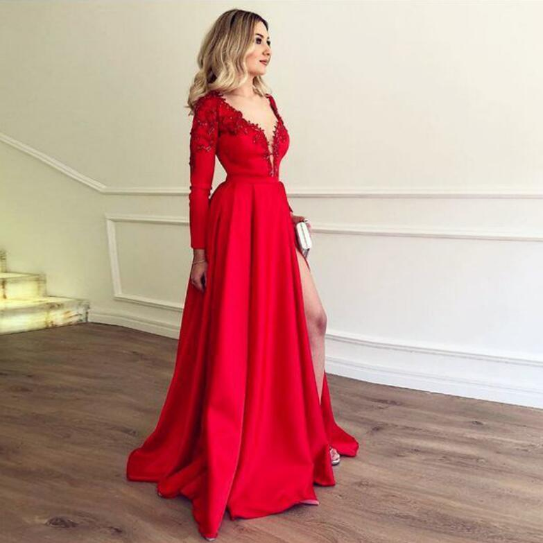 aabcf1d7fd 2019 Prom Dress Long Sleeve Red Deep V Neck Formal Evening Gown With High  Slit