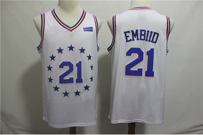 4cc91c374 Men s Philadelphia 76ers  21 Joel Embiid White 2018 19 Swingman Jersey – Earned  Edition