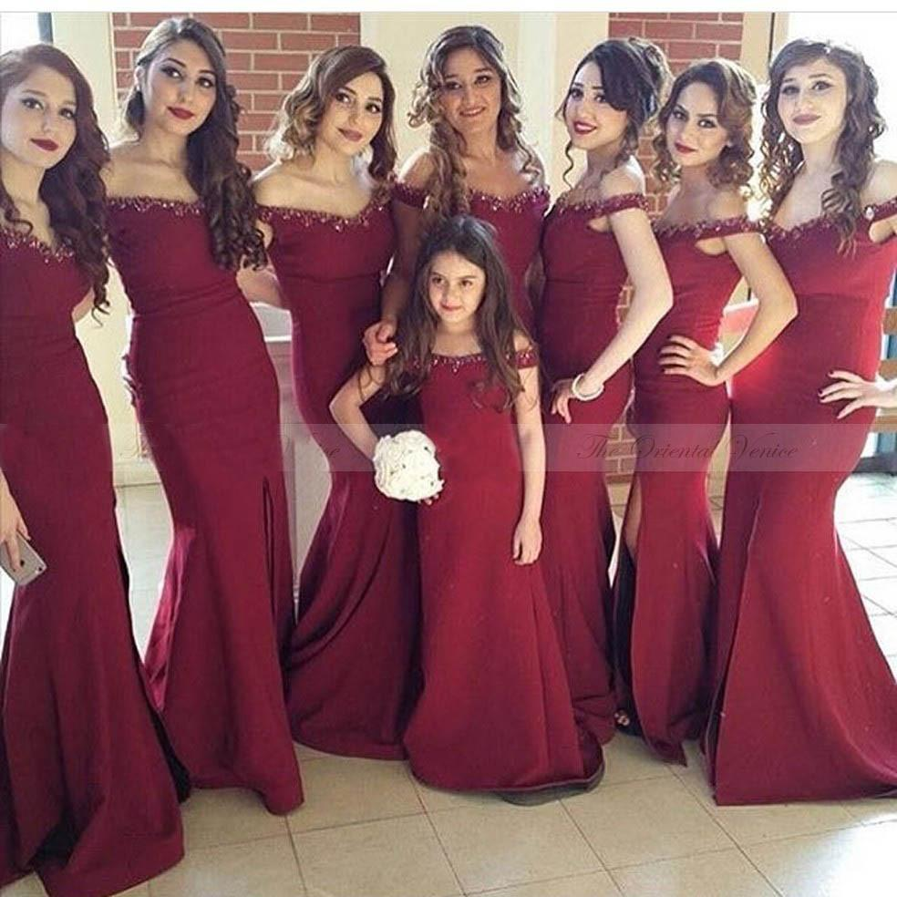 burgundy off shoulder elegant mermaid 2018 cheap bridesmaid dresses ... 9c09cd41a43e