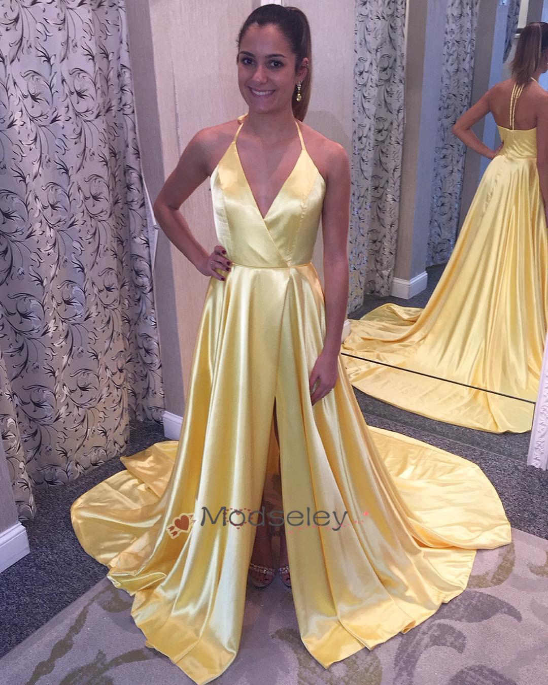 387cd33645e Halter Yellow Long Prom Dress (98320665 modseleystore) photo