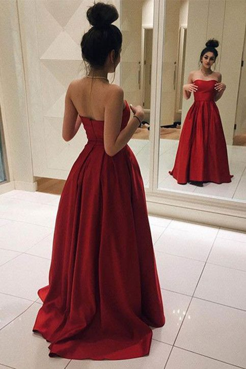 afc7b3c191e5 Red Satin Strapless Prom Dress Elegant Long Formal Evening Dresses Sweep  Train Party Gowns