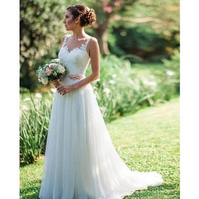 7f2f1c51e6e Spaghetti strap a line country wedding dresses lace appliques ruched chiffon  sweep train backless garden bridal
