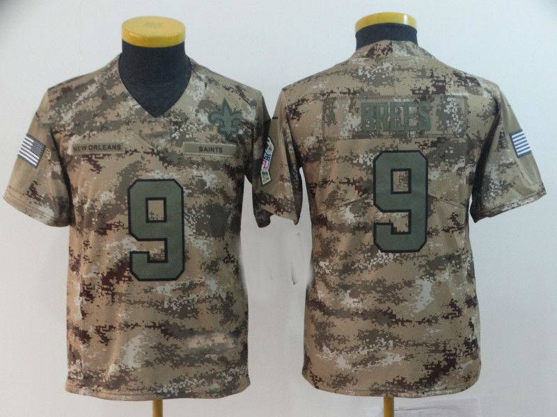 2eb02800867 2019 Youth New Orleans Saints #9 Drew Brees Camo Salute to Service ...