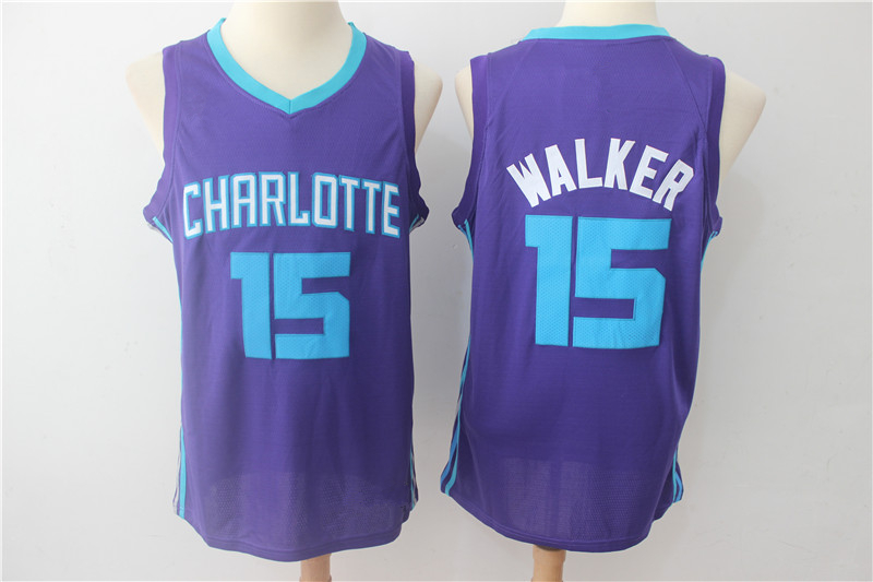 Men s Charlotte Hornets 15 Kemba Walker Purple Basketball Jersey ... 2240b1bd7