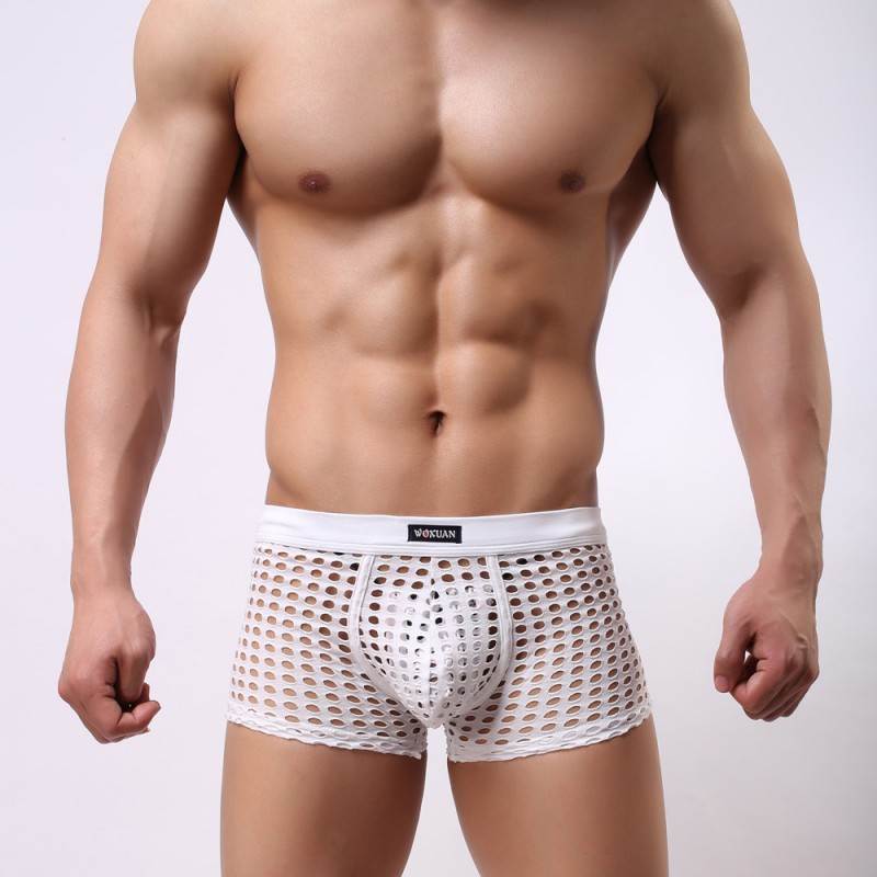 White underwear gay mens sexy mesh holes transparent fishnets panties underpants