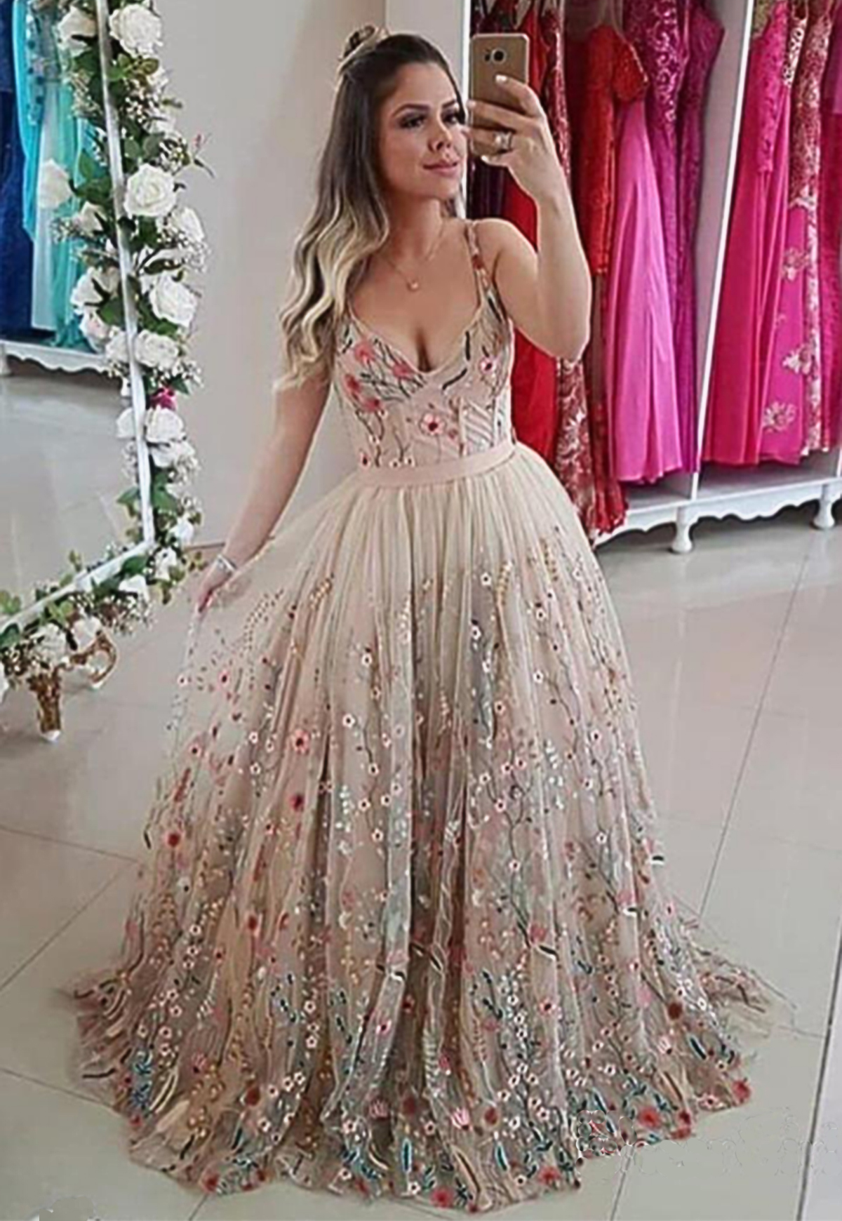 prom dress with straps