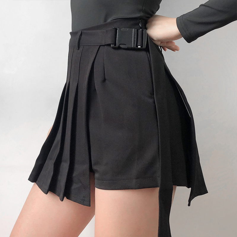 c5c2b724c4 ... Detachable pocket chain buckle with plaid irregular pleated short skirt  - Thumbnail 4