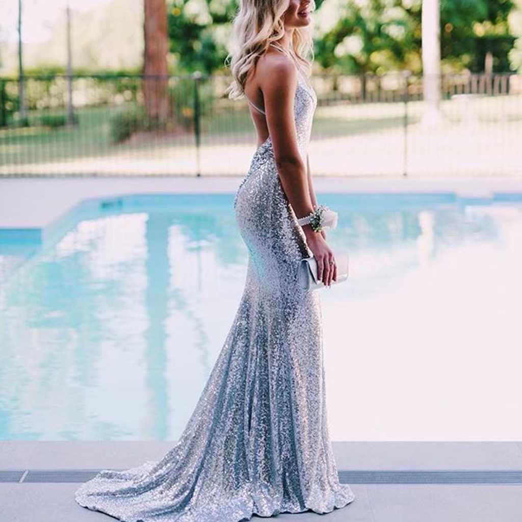 bf8fd049af6 Mermaid Sparkly Silver Sequin Backless V-Neck Spaghetti Straps Prom Dresses,  FC1940 on Storenvy