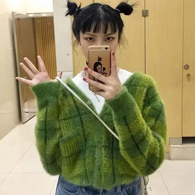 Image of UNIF TY CARDIGAN Fuzzy Plaid Cardigan with Front Pockets Long Sleeves in Multi Green