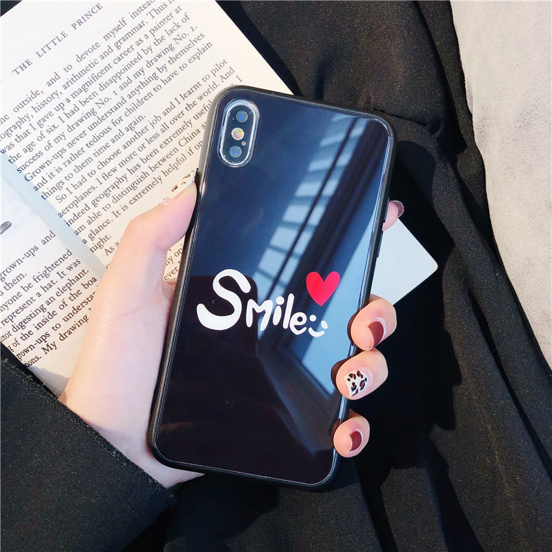 c3a3f475e4 For Iphone Xs Max Cases Couples Valentine Smile Love Heart Tempered Glass  Cases for Iphone X Xr 6 6S 7 8 Plus Fitted Cases Cover on Storenvy