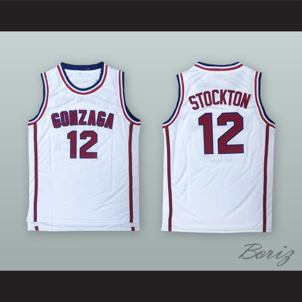 quality design a6e59 184d8 John Stockton 12 Gonzaga White Basketball Jersey from acbestseller
